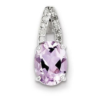 """Sterling Silver Rhod-plated Dia & Pink Quartz Oval Pendant w/18"""" Chain"""