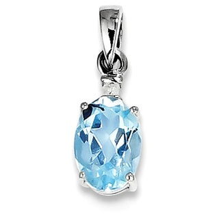 Sterling Silver Rhodium Plated Diamond & Sky Blue Topaz Oval Pendant With Chain