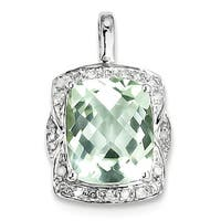 "Sterling Silver Rho plated Diamond Green Quartz Pendant W/18""  Chain"