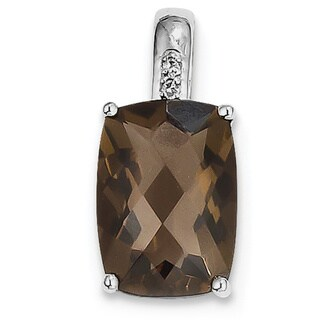 Sterling Silver Rhodium-plated Smoky Quartz and Diamond Pendant With Chain