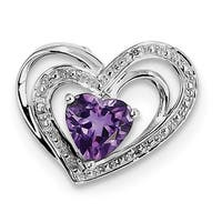 Sterling Silver Rhodium Plated Diamond & Amethyst Heart Pendant With Chain