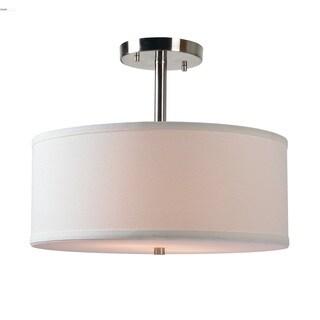 Design Craft Olivia Brushed Steel 2-Light Semi Flush Mount