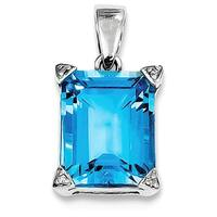 Sterling Silver Rhodium Light Swiss Blue Topaz Diamond Pendant With Chain