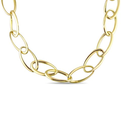 Miadora Signature Collection 18k Yellow Gold Oval Link Necklace