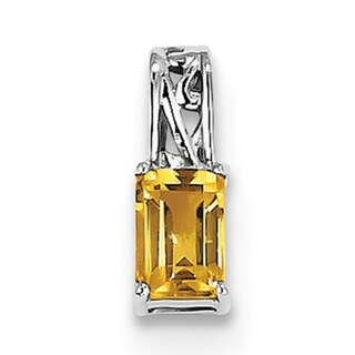 "Sterling Silver Rhodium Plated Citrine Rectangle Pendant w/18"" Chain"