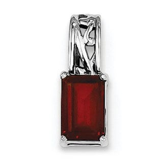 Sterling Silver Rhodium Plated Garnet Rectangle Pendant With Chain