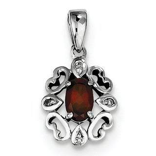 Sterling Silver Rhodium Plated Diamond & Garnet Oval Pendant With Chain