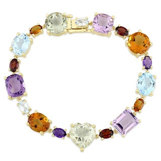 Miadora Signature Collection 10k Yellow Gold Amethyst Sky-Blue Topaz Madeira Citrine and Garnet Geometric Bracelet