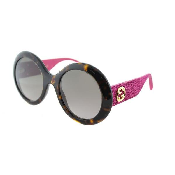 bf56b3faa6 Gucci GG 0101S 003 Havana Plastic Round Sunglasses Brown Gradient Lens