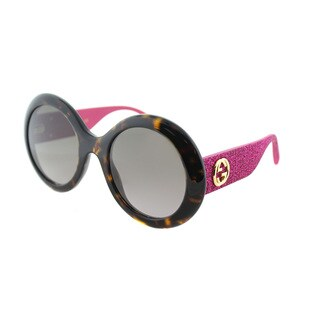 Gucci GG 0101S 003 Havana Plastic Round Sunglasses Brown Gradient Lens