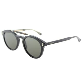 Gucci GG 0124S 001 Black Plastic Round Sunglasses Grey Lens