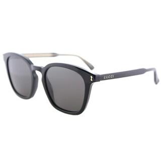 Gucci GG 0125S 001 Black Plastic Square Sunglasses Grey Lens