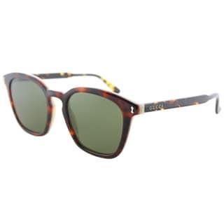 Gucci GG 0125S 003 Havana Plastic Square Sunglasses Green Lens