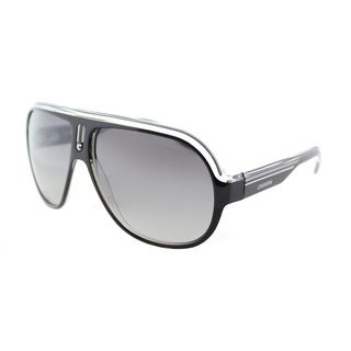 Carrera CA Speedway/S KE4 Black Crystal Silver Plastic Aviator Sunglasses Grey Mirror Shaded Silver Lens