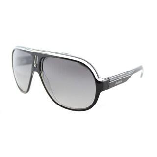 Carrera CA Speedway/S KE4 Black Crystal Silver Plastic Aviator Sunglasses Grey Mirror Shaded Silver Lens