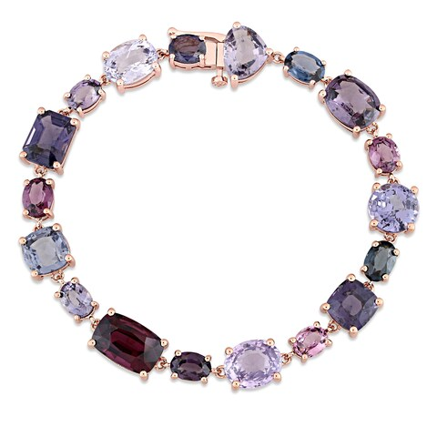 Miadora Signature Collection 10k Rose Gold Multi-Color Spinel Geometric Link Bracelet