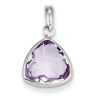 Sterling Silver Rhodium-plated Pink Quartz Pendant With Chain