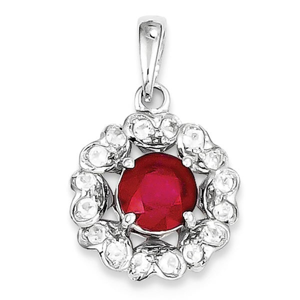 Sterling Silver Rhodium Plated White Topaz /& Glass Filled Ruby Pendant