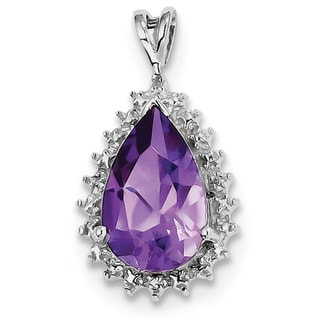 Sterling Silver Rhodium Amethyst & Diamond Pear Pendant With Chain