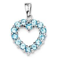 """Sterling Silver RhoLight Swiss Blue Topaz Heart Pendant W/18""""Chain"""