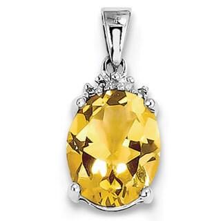 Sterling Silver Rhodium Citrine & Diamond Pendant With 18-inch Chain