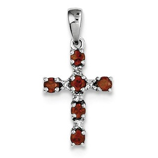 "Sterling Silver Rhodium Garnet & Diamond Cross Pendant With 18"" Chain"