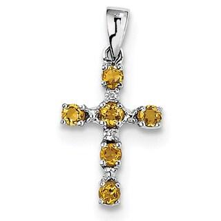 "Sterling Silver Rhodium Citrine & Diamond Cross Pendant With 18"" Chain"