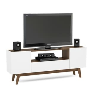 Boahaus White and Brown Wood 60-inch TV Stand