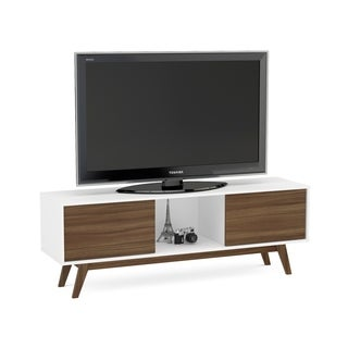 Boahaus White/ Walnut Wood 2 Closed Compartments TV Stand