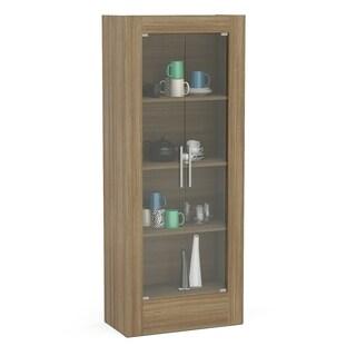 "Boahaus 71"" Modular Storage Cabinet, Brown, 2 glass doors, 4 shelves"