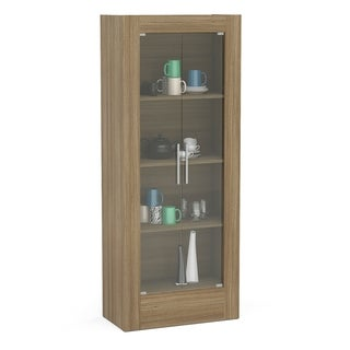 "Boahaus 71"" Modular Storage Cabinet, Brown, 2 glass doors, 4 shelves"