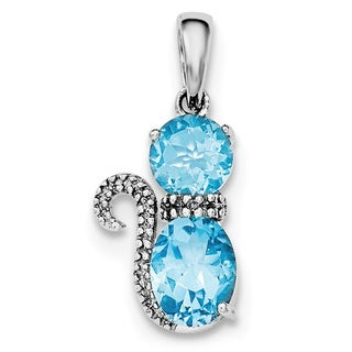 Versil Sterling Silver Rhodium Plated Blue Topaz And Diamond Cat Pendant With Chain