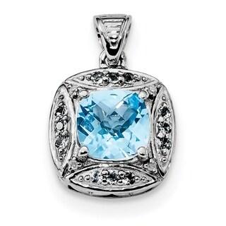 Sterling Silver Rhodium-plate Diamond & Lt Swiss Blue Topaz Pendant With Chain
