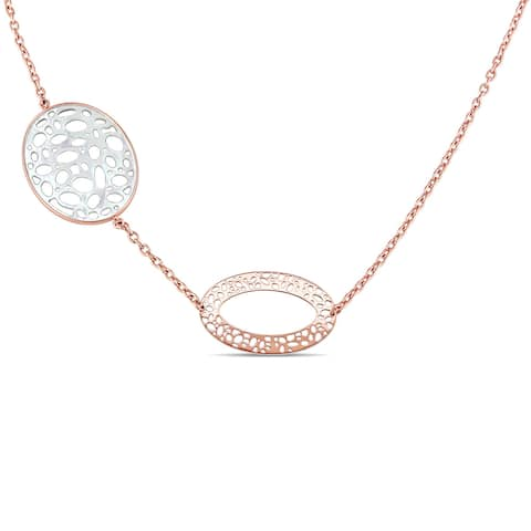 Miadora Signature Collection 18k Rose Gold Diamond Accent Textured Station Necklace - White