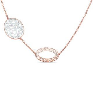 Miadora Signature Collection 18k Rose Gold Diamond Accent Textured Station Necklace