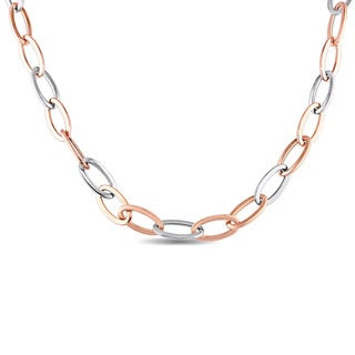 Miadora Signature Collection Two-Tone 18k White and Rose Gold Oval Link Necklace