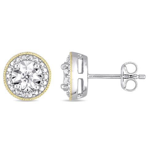 Miadora 2-Tone Yellow Plated and White Sterling Silver 1/10ct TDW Diamond Halo Stud Earrings