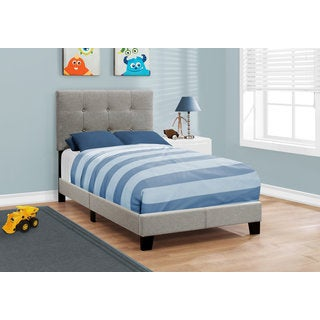 Monarch Linen Upholstered Twin-size Bed
