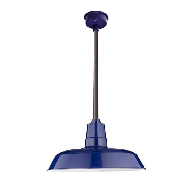 "14"" Oldage LED Pendant Light in Cobalt Blue with Mahogany Bronze Downrod"