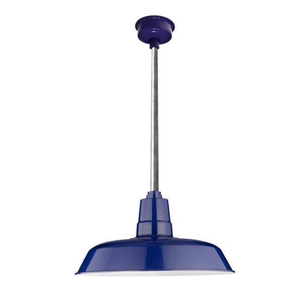 "14"" Oldage LED Pendant Light in Cobalt Blue with Galvanized Silver Downrod"