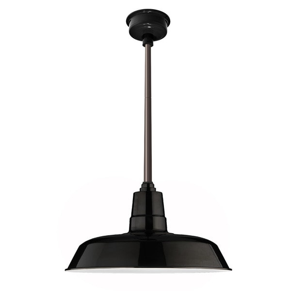 "14"" Oldage LED Pendant Light in Black with Mahogany Bronze Downrod"