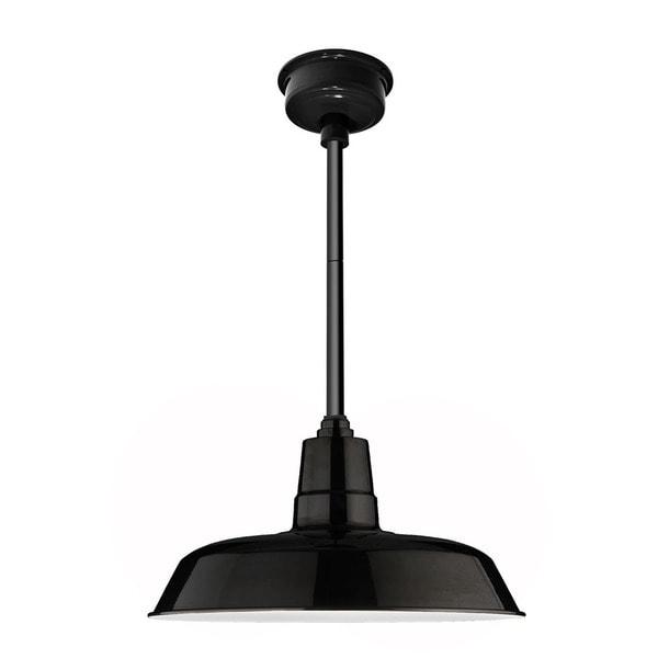 """14"""" Oldage LED Pendant Light in Black with Black Downrod"""