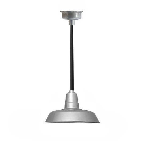 "12"" Oldage LED Pendant Light in Galvanized Silver with Black Downrod"