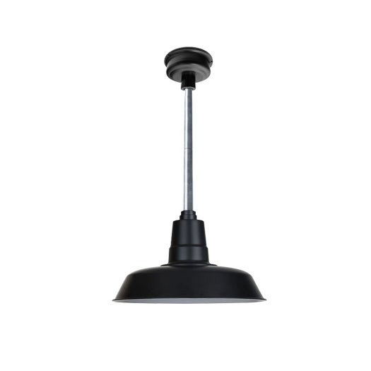 "12"" Oldage LED Pendant Light in Matte Black with Galvanized Silver Downrod"