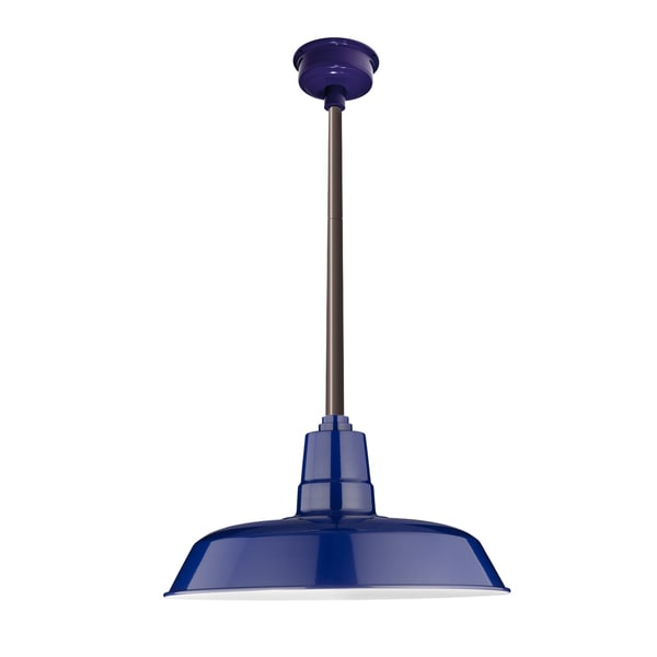 "12"" Oldage LED Pendant Light in Cobalt Blue with Mahogany Bronze Downrod"