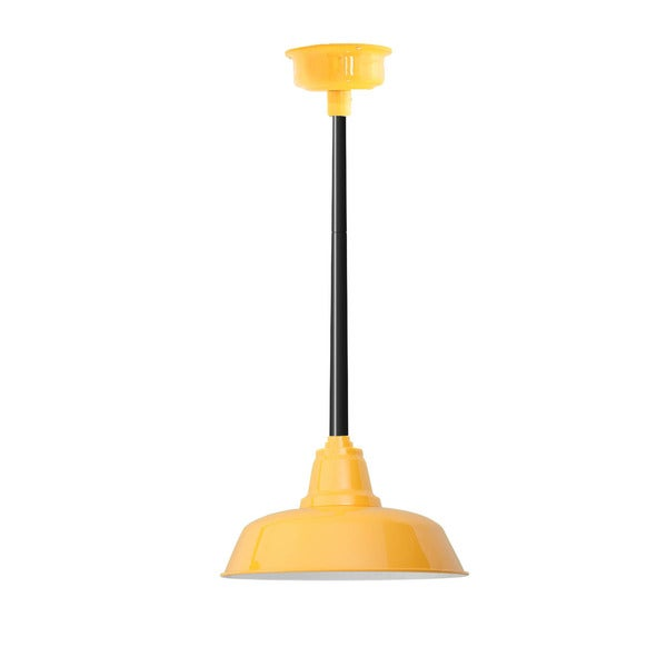 "16"" Goodyear LED Pendant Light in Yellow with Black Downrod"