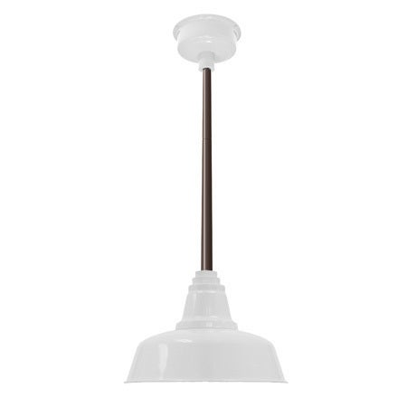 "16"" Goodyear LED Pendant Light in White with Mahogany Bronze Downrod"
