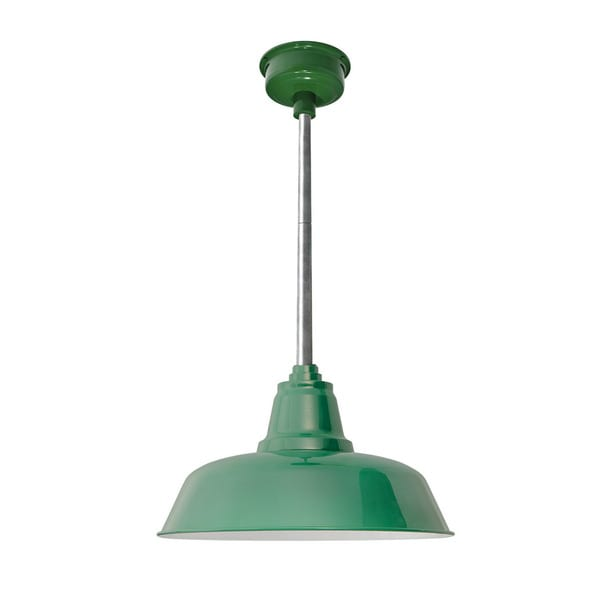 "16"" Goodyear LED Pendant Light in Vintage Green with Galvanized Silver Downrod"