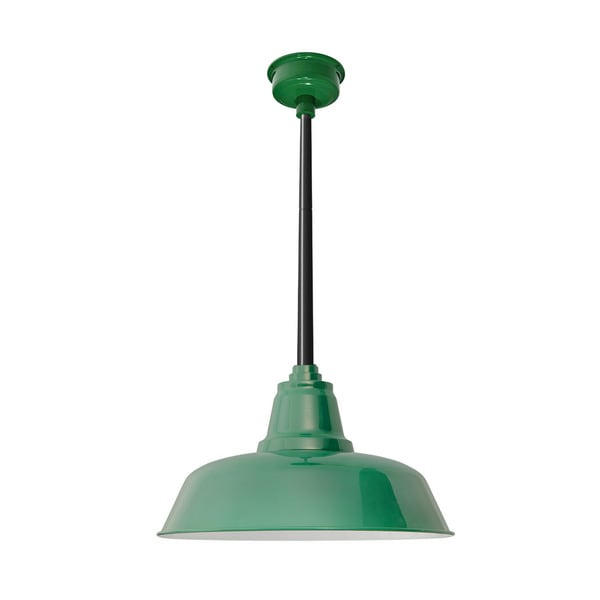 "16"" Goodyear LED Pendant Light in Vintage Green with Black Downrod"