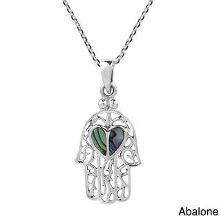 Hamsa Hand with Stone Heart Sterling Silver Chain Necklace (Thailand)